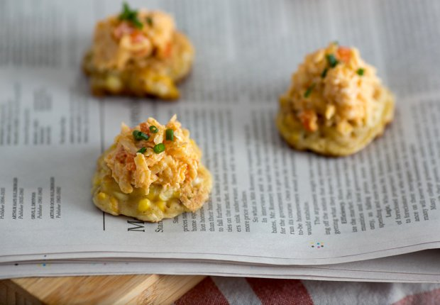Grilled Corn Fritters with Jarlsberg Pimiento Cheese