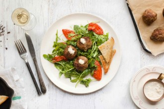 hero__Roast_Beef_Meatballs_with_Arugula__Oven_Dried_Tomatoes