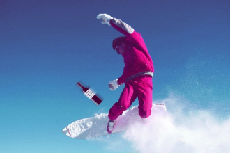 snowboarder with wine