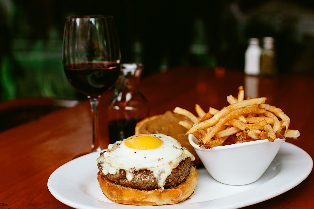 A burger and wine pairing at 5 Napkin burger, as part of the Somms & Sliders promotion in NYC this  month.