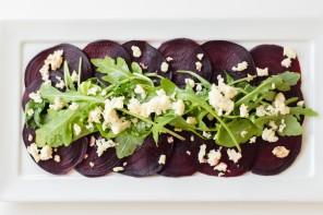 Salt Cured Beets with Balsamic Dressing, Arugula & Almond Ricotta