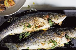 Simple Branzino with Roasted Garlic Dressing