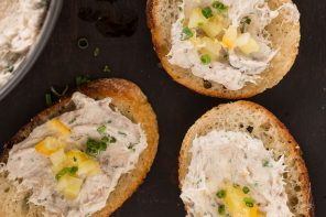 Bluefish Pâté with Lemon Pickle Relish and Garlic Crostini